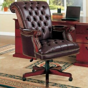 Coaster Faux Leather Ergonomic Tufted Office Chair In Dark Brown
