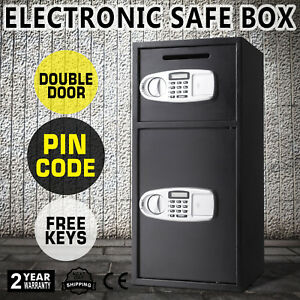 New Double Door Cash Office Security Lock Digital Safe Depository Drop Gun Box