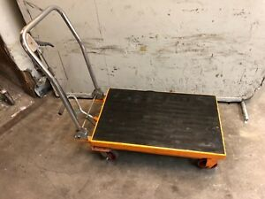Hydraulic Scissor Lift Table Work Shop Cart 1000lb Capacity Tow Lift Towing