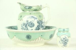 Victorian Antique Bowl Pitcher Set Melrose Staffordshire England 28760