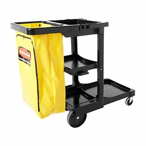 Rubbermaid Commercial Housekeeping 3 shelf Cart W Zippered Yellow Vinyl Bag