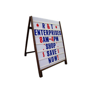Sandwich Board Sidewalk Sign A Frame Wooden Portable Outdoor Folding Free Stand