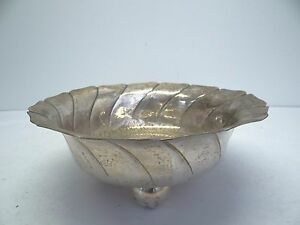 Antique Old Metal Silverplate Three Foot Unmarked Serving Bowl Candy Dish G