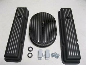 Small Block Chevy Short Black Ball Milled Valve Covers Black Air Cleaner Combo