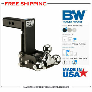 B W 7 Drop Tow Stow Adjustable Tri Ball Mount Fits 2 Receiver Hitch Ts10049b