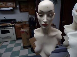 1 Vintage Mannequin Head White Front Facing paint Chip
