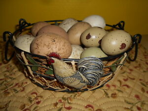 Primitive Colored Chicken Eggs In Wire Basket W Rooster Kitchen Decor 8 Long