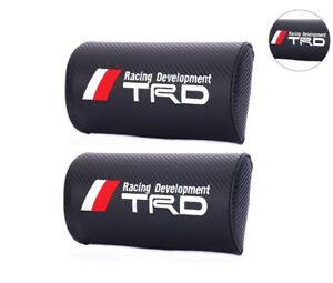 2pcs Universal Trd Carbon Fiber Look Car Rest Cushion Seat Headrest Neck Pillow