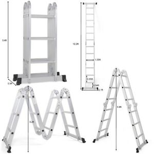 12 5 Ft Foldable Multi function Step Aluminum Scaffold Ladder Tool Heavy Duty