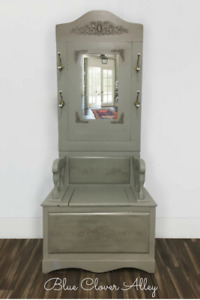 Antique Oak Hall Tree With Beveled Mirror And Storage Bench Seating