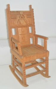 Hand Carved Wood Folk Art Child S Rocker Rocking Chair 24 X 9 X 9 American Girl