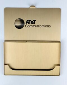 At t Communications Solid Brass Business Card Holder Case Made In Usa