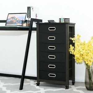 Home Office Rolling Mobile Storage Filing Cabinet 6 drawer Heavy Duty Furniture