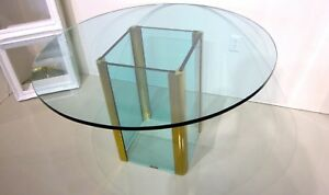 Pace Collection By Leon Rosen Brass Glass Dining Room Table Original Vintage