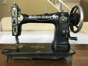 Beautiful Antique White Family Rotary Sewing Machine Black Gold Old Vintage