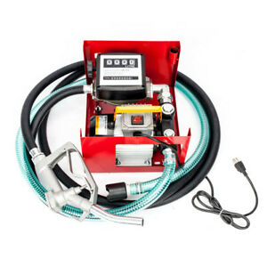 Black Red 110v Electric Diesel Oil Fuel Transfer Pump W Meter hose Nozzle