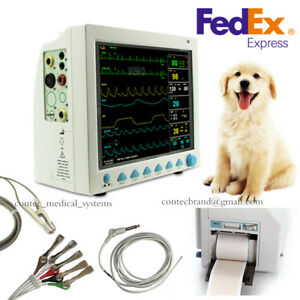 Us Veterinary Patient Monitor Vital Signs Icu printer ecg Spo2 Pr Nibp Temp Resp
