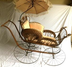 Antique 55 Long Wicker Baby Carriage W Parasol Sears 1901 Catalog