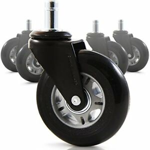 Premium Rollerblade Rubber Office Chair Caster Replacement Set Of 5 Accessories