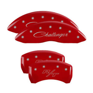 Mgp 12181sclrrd Set Of Front Rear Engraved Caliper Covers For Challenger Charger