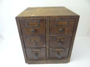 Vintage Wood 6 Drawer Library Filing Cabinet Organizer Storage Box Used Old