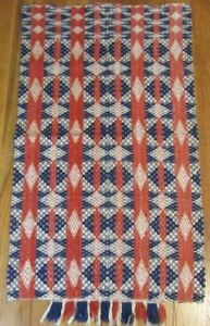Rare Pa C 1800s Cradle Crib Coverlet Antique Red Blue Stars