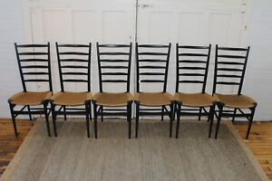 6 Gio Ponti Style Italian Mid Century Ladder Back Rope Dining Chairs