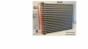 Water To Air Heat Exchanger 16x16 1 Copper Ports W Ez Install Front Flange