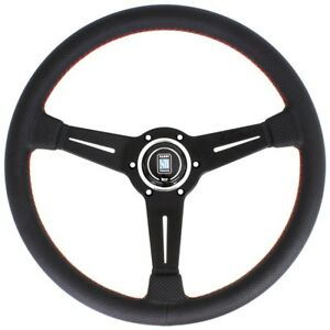 Nardi Classic Leather Steering Wheel 330mm Black Spoke Red Stitch 6062 33 2092
