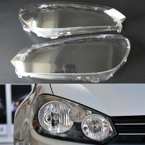Fit For Vw Golf 6 Mk6 2010 14 Pair Car Clear Lenses Headlight Lamp Cover Plastic