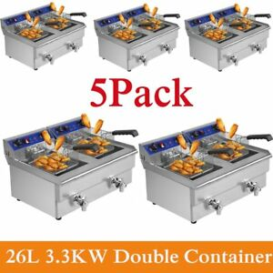5 X 26l 3 3kw Temperature Control Timing Double Container Electric Deep Fryer Sk