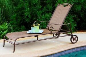 Stonewick Chaise Lounge Chair Outdoor Patio Pool All Weather Wicker Furniture