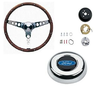 Grant 15 Wood Steering Wheel installation Kit oval Horn Button For F150 f250