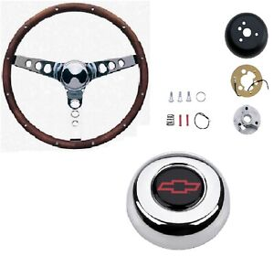 Grant 15 Wood Steering Wheel installation Kit red Horn Button For Chevelle