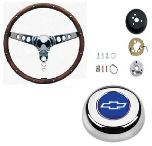 Grant 15 Wood Steering Wheel installation Kit bowtie Horn Button For Caprice