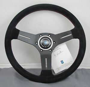 Nardi Competition Suede Steering Wheel 330mm Black W Red Stitching 6070 33 2094