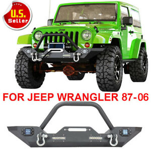 For 87 06 Jeep Wrangler Yj Tj Front Bumper Winch Plate D Rings Led Lights