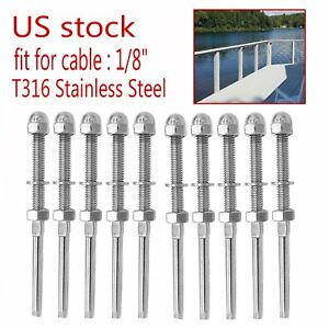 Lot Swage Threaded Tensioner For 1 8 Cable Railing Systems T316 Stainless Steel