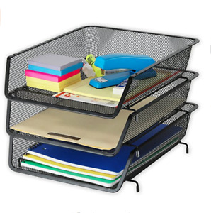 Mind Reader 3 Trays Desktop Document Letter Tray Organizer With Pull Out Drawer