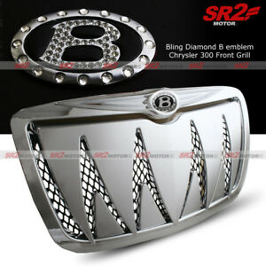 Chrome Shark Teeth Mesh B Emblem Front Hood Grill Grille For 05 10 Chrysler 300c