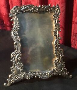 Lovely Vintage Antique Victorian Silver Plate Easel Back Picture Frame