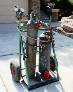 Oxygen Acetylene Tanks With Cart Hose Gauges Victor Tips Etc