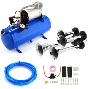 4 Trumpet Train Car Truck Air Horn 12v Compressor 150db Hose Tank Gauge Kit Blue