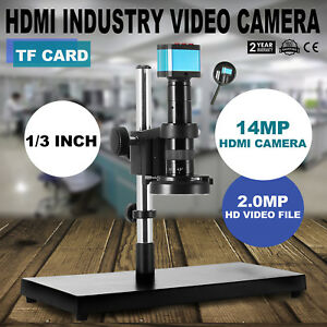 Hdmi Usb Industry 180x C mount Microscope Camera Tf Video Recoder 144 Led New