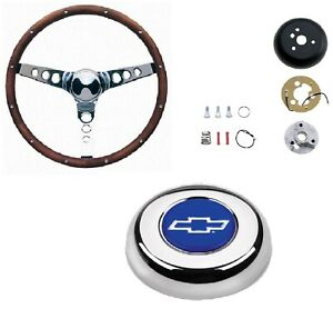 Grant 15 Wood Steering Wheel Installation Kit Chevy Bowtie Horn Button For Nova