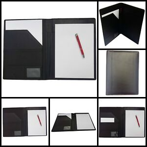 Black Genuine Leather Portfolio Writing Pad With Business Card Pocket Id Window
