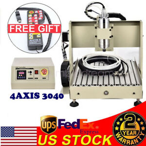 4 Axis 3040 Cnc Router Engraver Cutting Milling 3d Machine mach 3 Remote Control