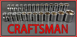 Craftsman Hand Tools 26pc Lot 1 2 Sae Metric Mm 6pt Ratchet Wrench Socket Set