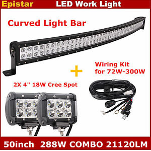 50inch 288w Curved Led Light Bar wiring Kit 2pcs 4inch 18w Spot Work Lights