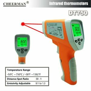 Handheld Infrared Thermometer Optical Focus Laser Temperature Meter Gun Dt750 Rm